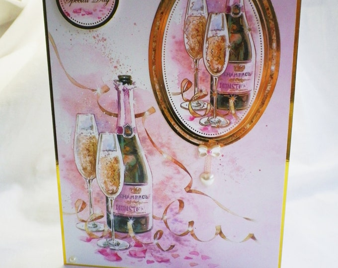 Wedding Card, Special Day Card, Greeting Card, Couple, Champagne, Gold and Pink, Male and Female, Bride and Groom