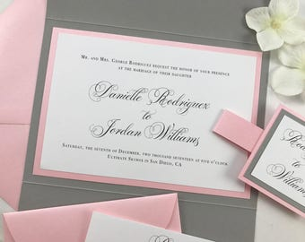 Blush Pink and Gray Pocket Invitations, Beautiful Elegant Wedding Invites, Complete invitation set with pocket folder and belly band tag