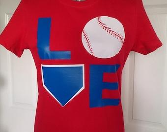 Red White and Blue Baseball LOVE Shirt, Unisex T-shirt, Baseball Mom Shirt, LOVE with Home Plate and Baseball