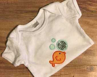 Boy Fish with Bubbles Shirt or Onesie Embroidered Personalized Monogrammed Summer Beach Vacation