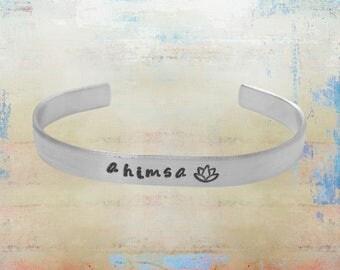 "Ahimsa Lotus Cuff Bracelet Hand Stamped Mantra Yoga Jewelry 1/4"" aluminum"