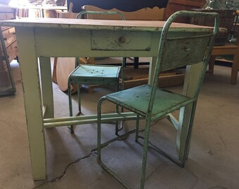 Antique Hungarian/French Farm table, desk, chippy paint base; top is reclaimed (Chairs excluded) - LOCAL Pick up ONLY (shipping TBD)