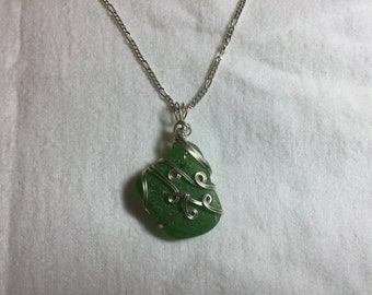 Green sterling silver sea glass necklace pendant with chain