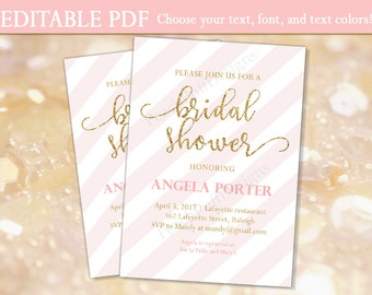 Bridal shower invitation (INSTANT DOWNLOAD) - Bridal shower invites - Printable bridal shower invitation - Pink and gold Bridal shower BR001