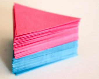 Hand punched card stock triangle die cuts - 100 (50 of each color)