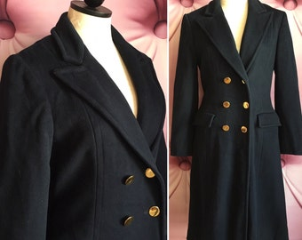 80s 1980s navy blue wool pea coat gold buttons Forstmann vintage winter peacoat