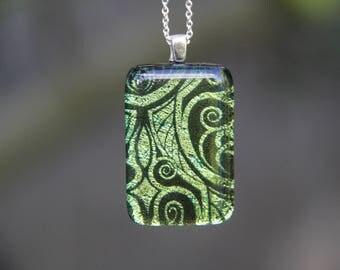 Gold Art Nouveau dichroic glass pendant, fused glass, dichroic necklace, gold dichroic , gold fused glass pendant, Art Nouveau,
