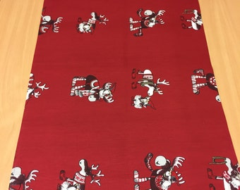 Christmas table runner, Red table runner with reindeer, Scandinavian design, Christmas gift