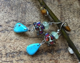 Kingman Turquoise stone, Prehnite and lamp work a101 earrings. fine boho . sterling silver . artisan  glass bead earrings . mixed gemstones
