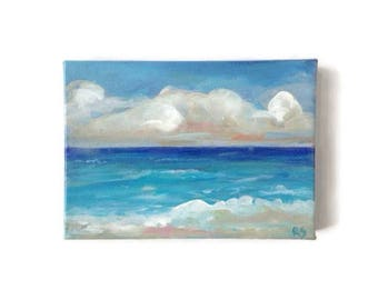 Small Ocean painting on canvas. Nautical painting. Blue water art. Beach wall painting. Coastal art. small art. original Landscape painting.