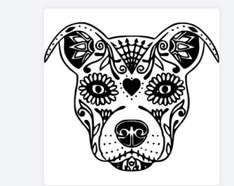 Pitbull sugar skull on custom car drawings