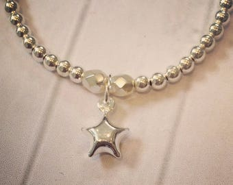 Sterling Silver Bracelet with Sterling Silver 3D/Puff Star Charm