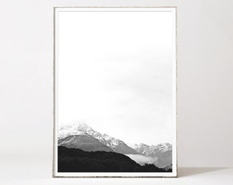 Mountain wall art, mountain print, mountains, minimalist landscape, mountain landscape, landscape prints, black and white landscape print