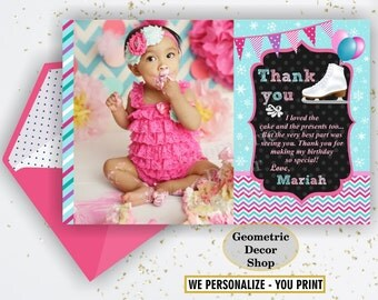 Thank you cards Ice Skating Party Favor tags digital gift Decoration birthday printable DIY Thank you card tag photo photograph THIS2