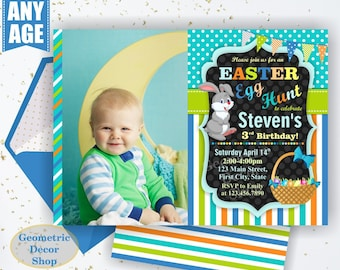 Easter Birthday Invitation Egg hunt Invite Bunny Easter egg Hunt Orange teal blue Green Girl Invitations Free Back BDE4