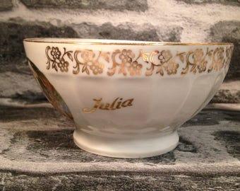 Vintage French cafe au lait bowl porcelaine L'apparition - Julia