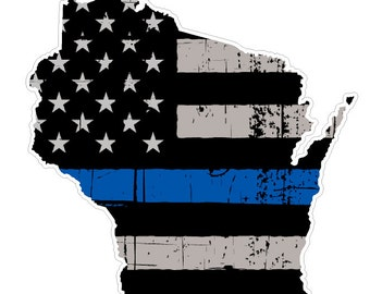 Wisconsin State (V49) Thin Blue Line Vinyl Decal Sticker Car/Truck Laptop/Netbook Window