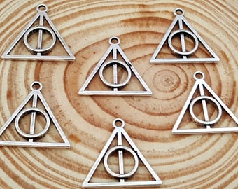 6 Medium Antiqued Silver Deathly Hallows | Triangle Charm Pendant | Harry Potter | 2060