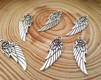6 Large Antiqued Silver Wing with Rose Charm | Large wing charm | Rose Wing Charm | 2100