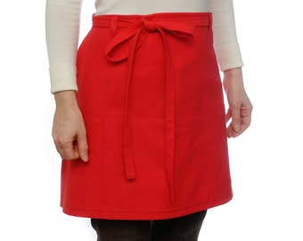 Half apron with pockets Cooking Apron Cafe apron Kitchen Apron Hostess aprons Womens Aprons Chef Gift Red Apron Baking gift idea Waist apron