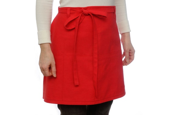 Half Apron With Pockets Cooking Apron Cafe Apron Kitchen Apron