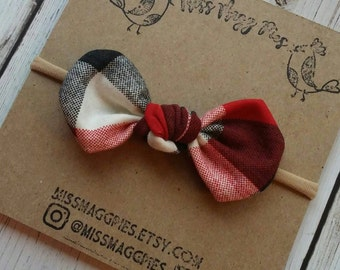 Christmas Buffalo Plaid · Knot Bow {One Size Nylon Band OR Alligator Clip} Knotted Hair Bow / Hair Accessories