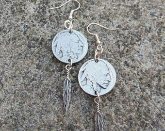 American Indian Earrings -Buffalo Coin Earrings - Feather earrings - gift for her - native american coin earrings - upcycled earrings
