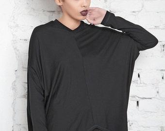 Oversized Tunic  / Loose  Blouse / Oversize Top / Plus Size Jumper /Black Tunic / Maxi Blouse / Loose Top / Long Sleeve Tunic