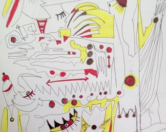 original 24x32 cm ink art drawing artwork modern abstract contemporary expressive