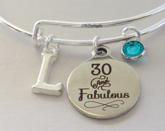 30 and Fabulous CHARM Bangle W/ Swarovski  Birthstone W/ Initial  Bangle /Happy Birthday Bangle - Gift For Her Under Twenty  Usa HB1