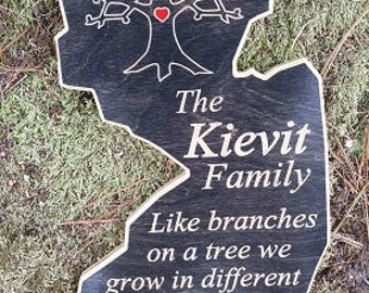 Custom Wood Personalized State Family Family Tree Sign Family Welcome Sign  Wooden Family Sign Welcome Sign