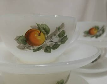 Four Vintage Fruits De France by Arcopal France Milk Glass Flat Cup and Saucer Sets 1970s