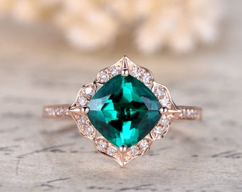 emerald engagement ring 7mm cushion cut emerald wedding ring may birthstone ring pave diamond wedding band - Emerald Wedding Ring