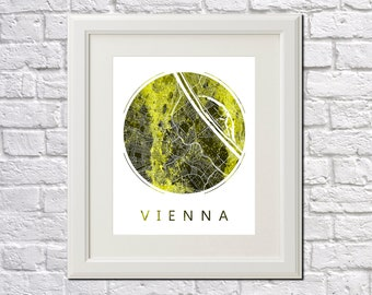 Vienna Street Map Print Neighborhood Map of Vienna City Street Map Vienna, Austria Poster Wall Art 7006R
