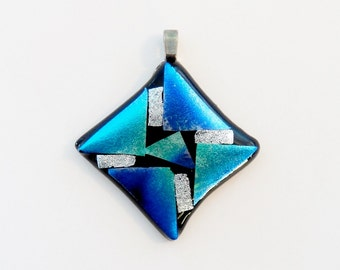Dichroic Glass Geometric Pendant, Blue and Silver Geometric Necklace, Dichroic Fused Glass, Silver Plated Snake Chain Included