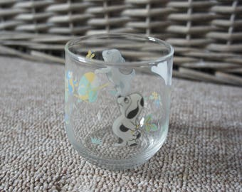 Vintage Glass Tumbler With Dalmation Puppy Dog With Bird Ball And Butterfly, Made In France, Retro, 1980s, Gift, Home Decor, Child, Boy,Girl