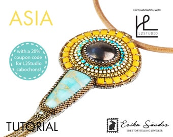Asia pendant - instant download for the bead embroidery pdf instructions / pattern / schema / tutorial w L2Studio cabs and cupchains