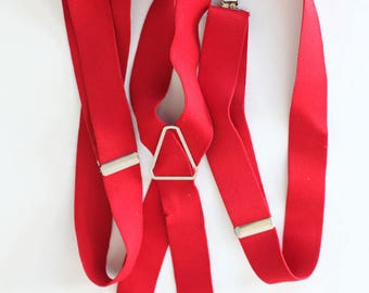 Vintage Men's Wide Red Clip On Suspenders
