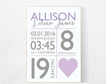 Personalized baby gift new baby gift custom birth print birth announcement nursery decor purple nursery decor nursery prints baby birth print negle Image collections