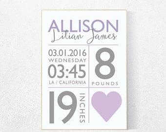 Birth announcement nursery decor, purple nursery decor, nursery prints, baby birth print, baby stats, purple nursery, new baby gift ideas
