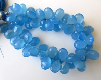 Blue Chalcedony Faceted Pear Shaped Briolette Beads, Pear Shaped Blue Chalcedony Beads, 11mm to 12mm Each, 7 Inch Strand, GDS644