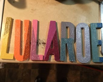 Rainbow and glitter LLR letters