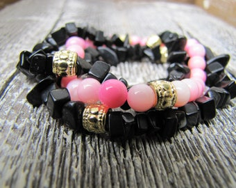 Pink and Black Beaded Bracelet Trio / Bracelet Trio / Beaded Bracelet Stack