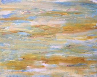 """Abstract Fine Art Painting by Emily Jane Horton """"Reflections: Sweet Sensations"""" 24x30 acrylic, water, yellow, blue, white, gold"""