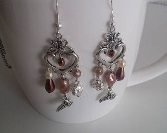 Earrings, sweet powder pearl.