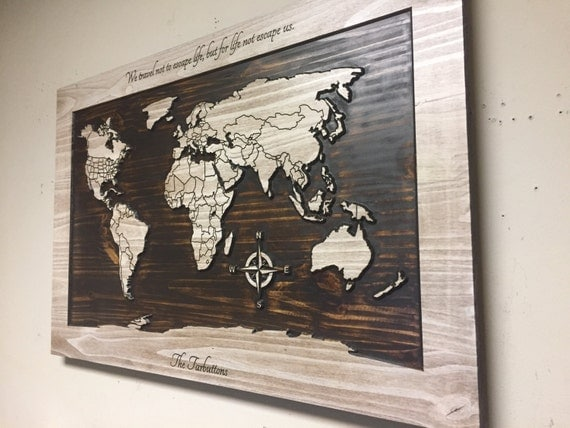 Wood Name Wall Decor : Wood wall art world map carved wooden