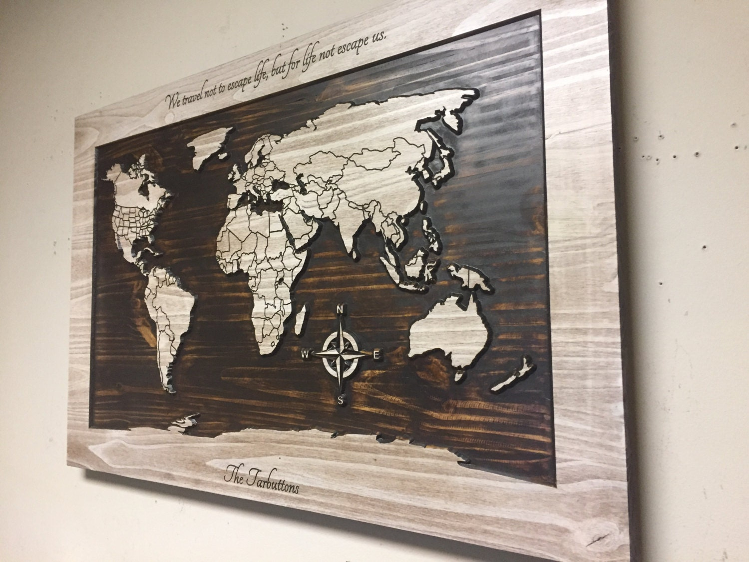 Wood wall art world map wall art carved wooden world map for Wooden art home decorations