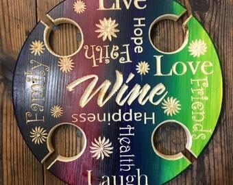 Engraved Adirondack Rustic Wine/Beer Camp Table
