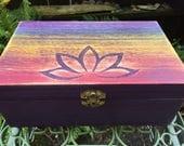 Rainbow Lotus Flower - Hand Carved Wood Box - Hippie Chic Decorative Storage - Painted Keepsake Box - Jewelry Box - Namaste