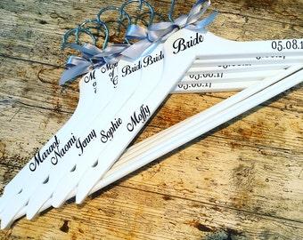 Personalised Wedding Hangers WHITE- hangers with names- Bride hangers- wedding party gifts- bridesmaids hangers